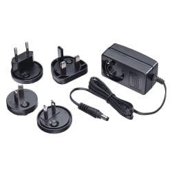 Multi Country Switching AC Adapter - 12V DC, 1.25A, 5.5mm Outer / 2.1mm Inner DC Jack, Level VI