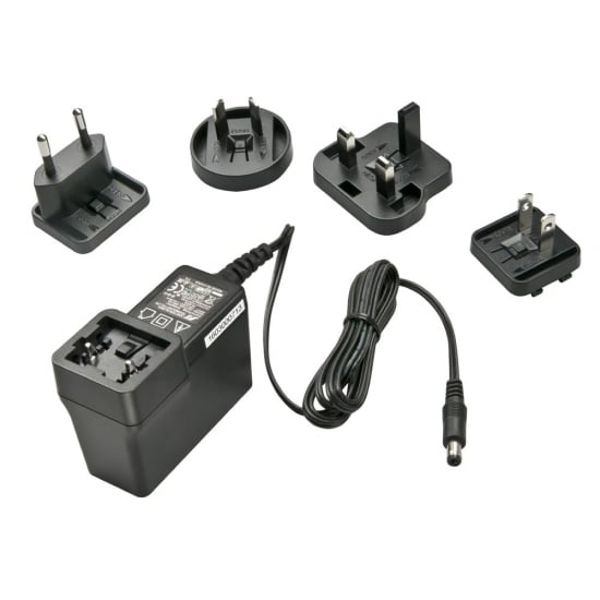 Multi Country Switching Power Adapter - 12V DC, 3A, 5.5mm Outer / 2.1mm Inner DC Jack, Level VI
