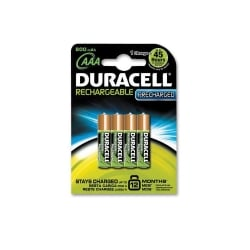 Precharged AAA Rechargeable Duracell Batteries, (4 pack)