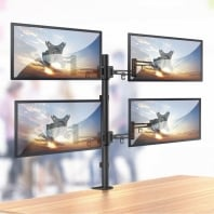 Quad LCD Monitor Arm With Pole And Desk Clamp