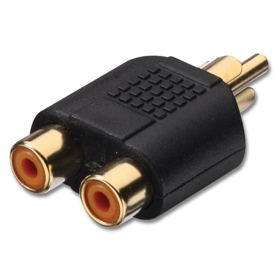 RCA/Phono Male to 2 x RCA/Phono Female Audio Adapter