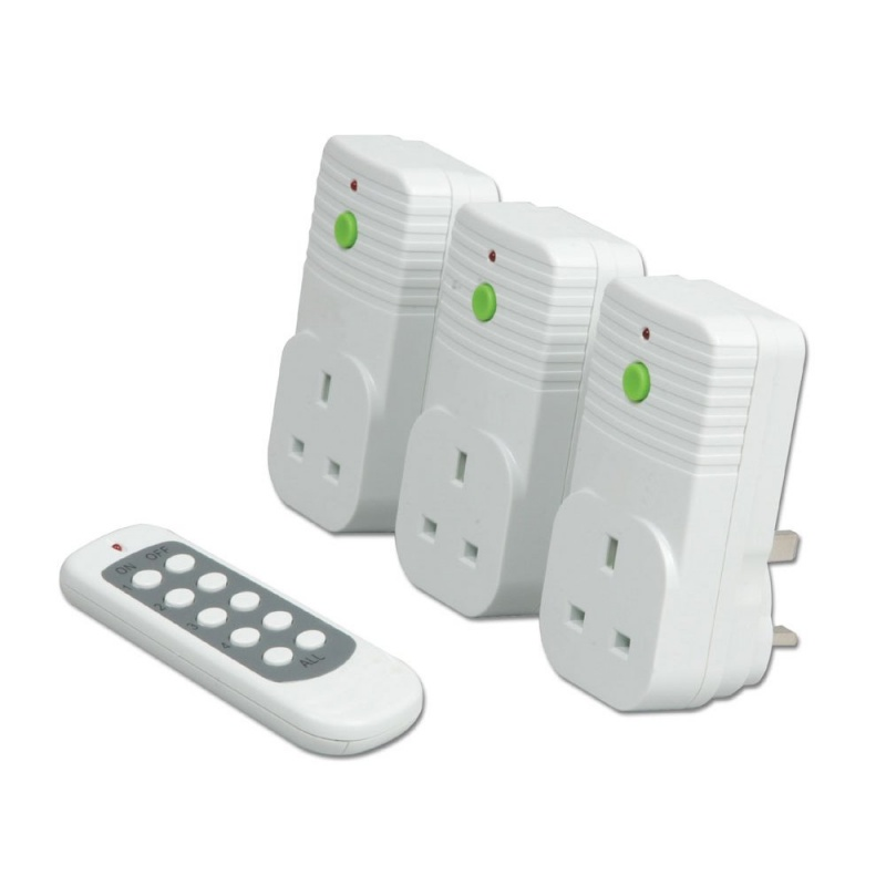 remote controlled power sockets pack of 3 from lindy uk. Black Bedroom Furniture Sets. Home Design Ideas