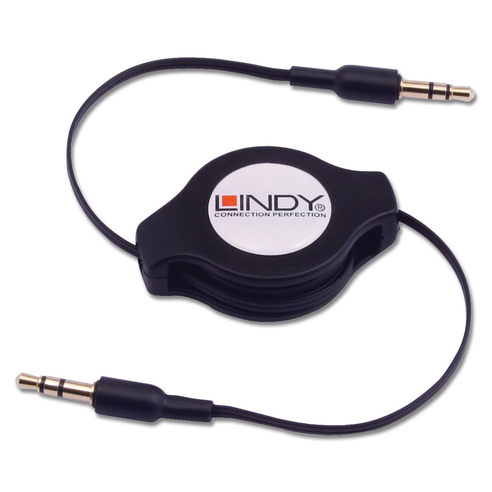 retractable stereo jack male to stereo jack male cable from lindy uk. Black Bedroom Furniture Sets. Home Design Ideas