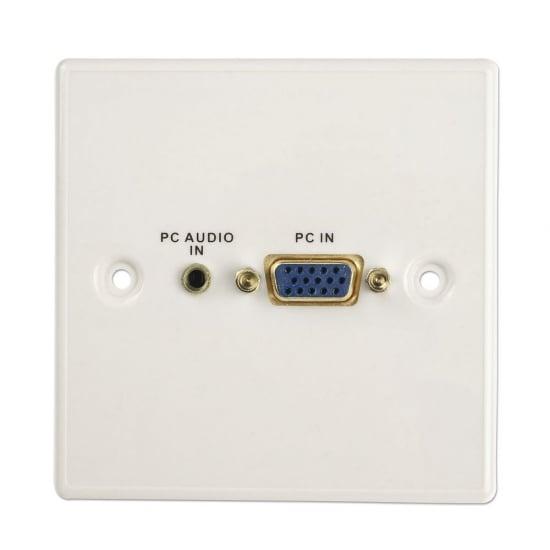Right Angled VGA/Audio Faceplate, Plastic