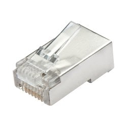 Shielded RJ-45 Male Connector, 8 Pin CAT5e, Pack of 10