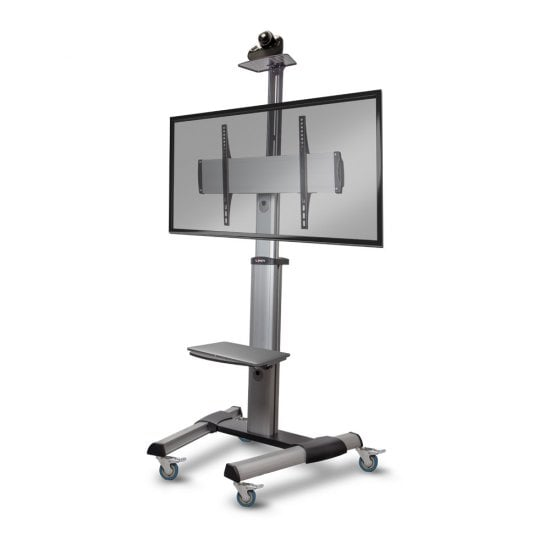 Single Display Mount Trolley Stand, Silver