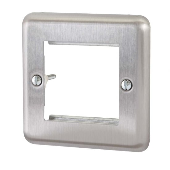 Single Gang Brushed Steel Dual Snap In Face Plate