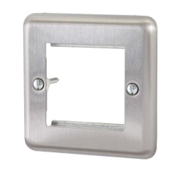 Single Gang, Brushed Steel for Dual Snap In Faceplates