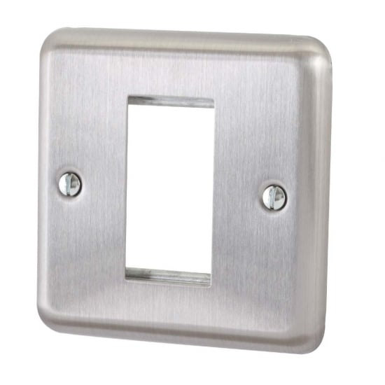 Single Gang Brushed Steel Snap In Face Plate
