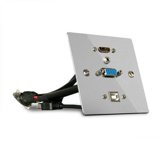 Single Gang VGA, HDMI, USB and Audio Wall Plate, Metal