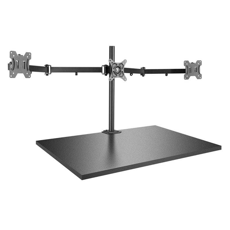 Triple Display Bracket with Pole and Desk Clamp