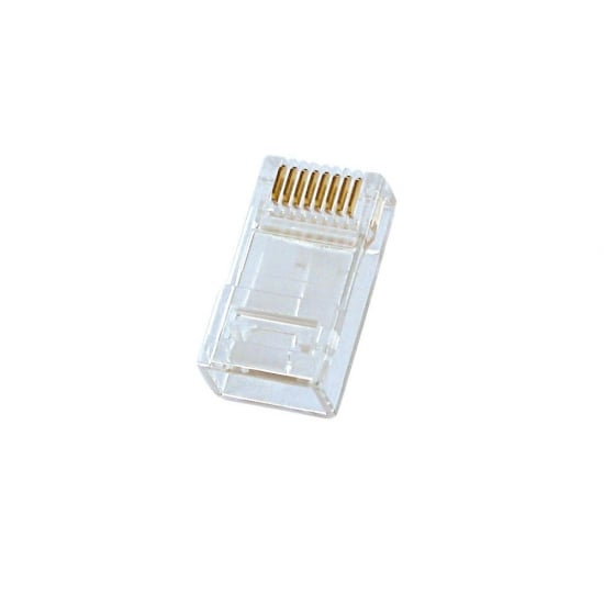 Unshielded RJ-45 Male Connector, 8 Pin CAT5e, Pack of 10
