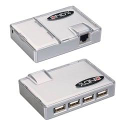 USB Extension - CAT5 USB Extender with 4 Port USB 1.1 Hub