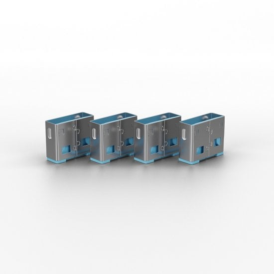 USB Port Blocker - Pack of 4, Colour Code: Blue