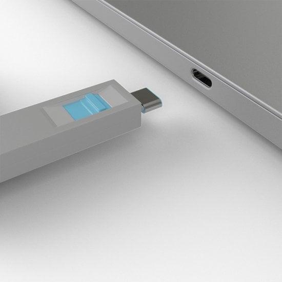 USB Type C Port Blocker Key - Pack of 4 Blockers, Blue
